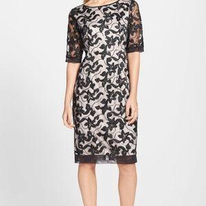 Eliza J Beaded Embroidered Sheath Dress BLACK